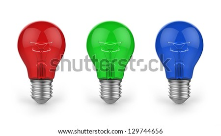 colored bulbs on a white background - stock photo