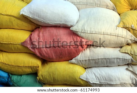 colored burlap sack, background - stock photo