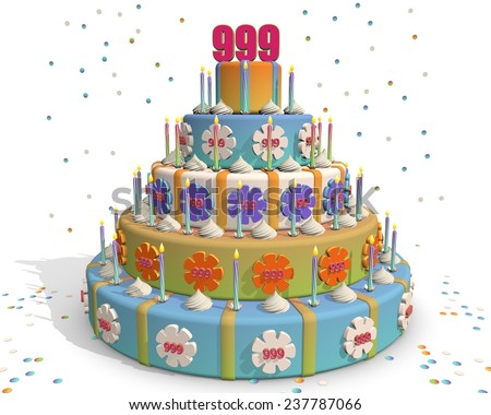colored cake with number 999 at the top . Celebrating a birthday , anniversary , winner, or something else. - stock photo