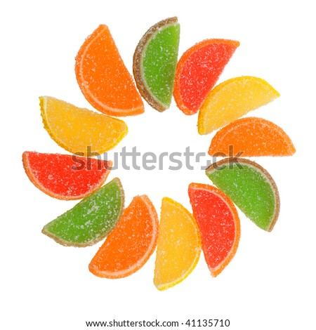 Colored candy isolated on white background. - stock photo