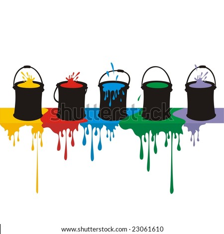 Colored cartoon silhouettes of paint cans overflowing on the top of a wall. Large format full resolution.