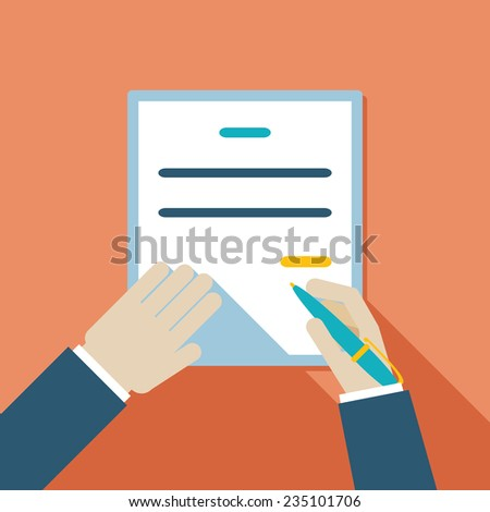 Colored Cartooned Hand Signing Contract Graphic Design on Orange Background. - stock photo