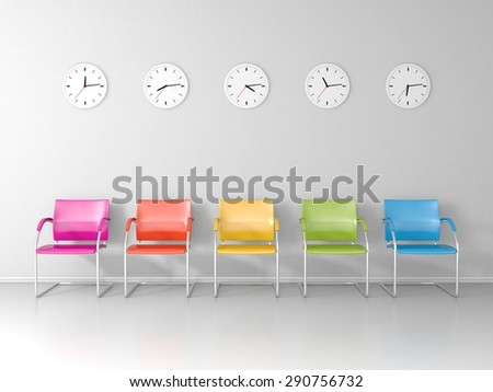 Colored chairs and five different clocks in the waiting room