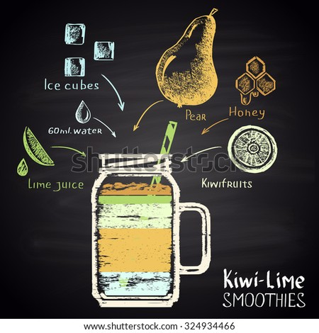 Colored chalk painted illustration of glass with kiwi-lime smoothie (pear, kiwifruits, lime, honey). Infographic. - stock photo