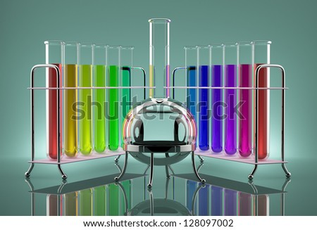 Colored chemical solutions in the tubes next to the bulb - stock photo