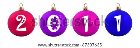 Colored Christmas balls with 2011 date written on them in a horizontal row - stock photo