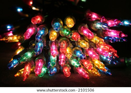 colored christmas lights - stock photo