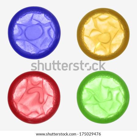 Colored condoms - stock photo