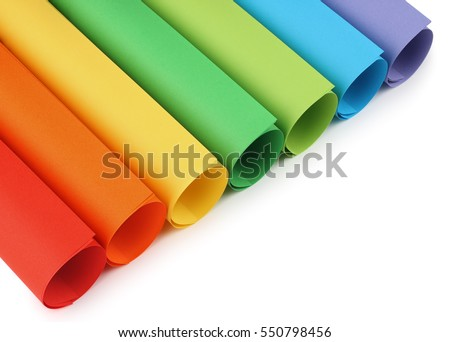 Colored construction paper isolated with shadows on white background.