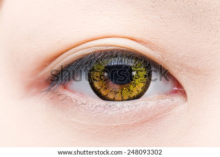 colored contact lens asian girl eye - stock photo