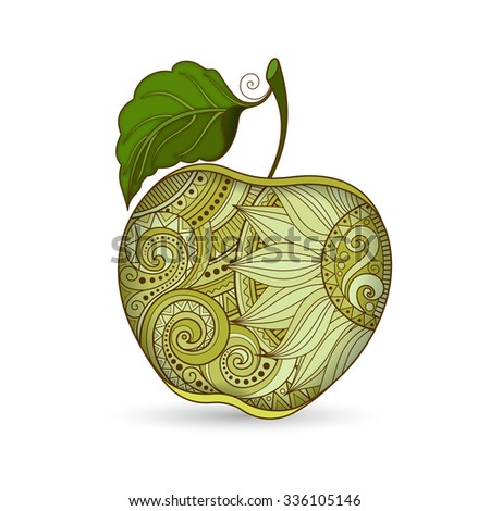 Colored Contour Apple. Hand Drawn Decorative Fruit