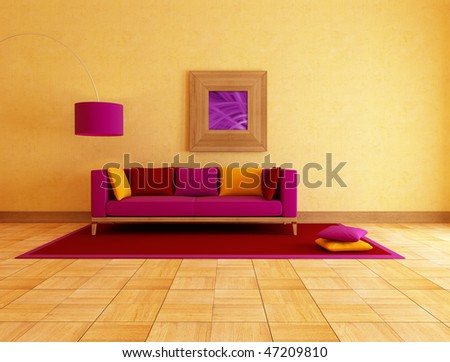 colored couch in a ethnic lounge , rendering - stock photo