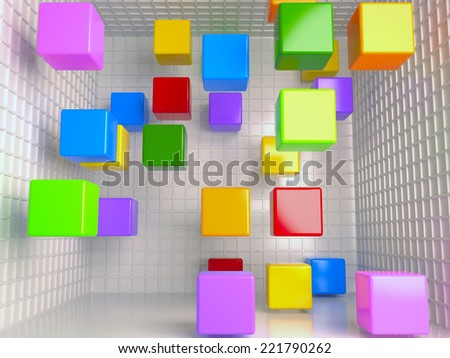 Colored cubes abstract background, 3D - stock photo