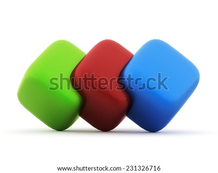 Colored cubes icon concept rendered on white background - stock photo