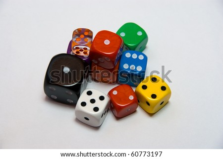 Colored Dice in  white background