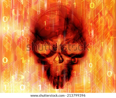 colored digital abstract background with skull  - stock photo