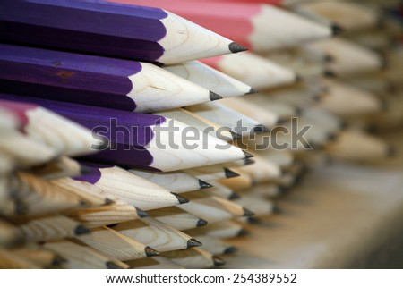 Colored drawing pencils in a variety of colors  - stock photo