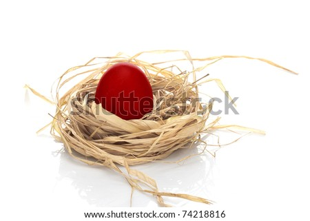 colored easter egg, red, in a nest