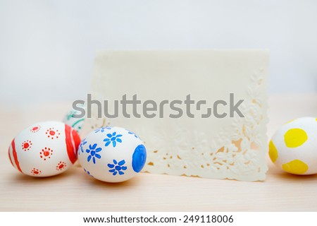 colored Easter eggs with place for your text. - stock photo