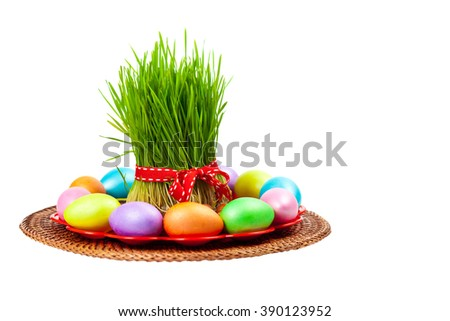 Colored eggs, wheat springs on Nowruz holiday. Selective focus.