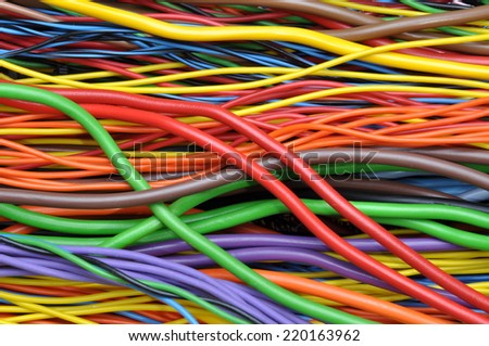 Colored electrical cables and wires - stock photo