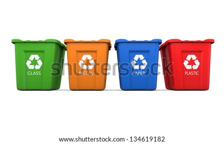 Colored empty recycle bins isolated on white background - stock photo