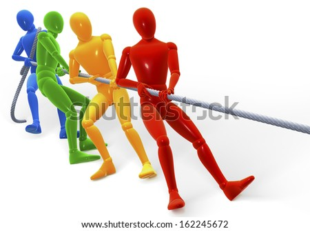 Colored figures, men performing the tug of war, 3d rendering isolated on white background - stock photo