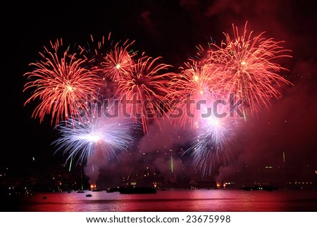 Colored Fireworks Show on a lake surface
