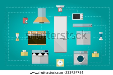 Colored flat icons for kitchen appliances. Set design of colored flat icons for home with kitchen equipment on blue background. - stock photo