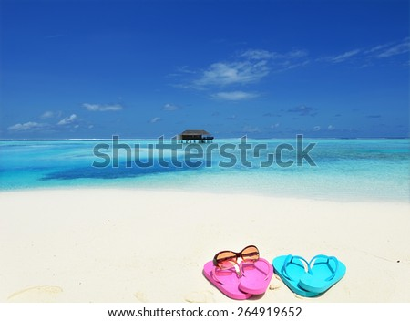 Colored flip flops at the tropical beach -- Tropical beach vacation and travel concept   - stock photo