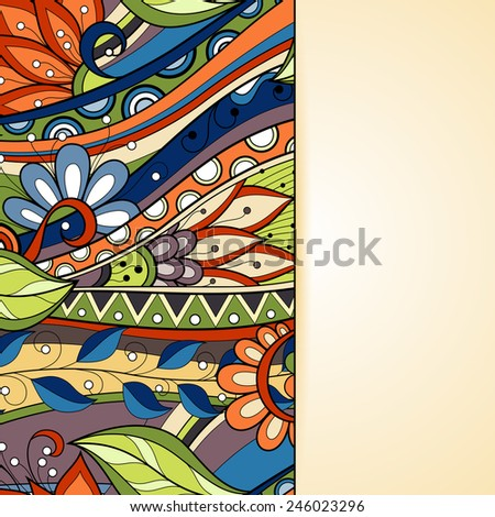 Colored Floral Background. Hand Drawn Texture with Flowers - stock photo