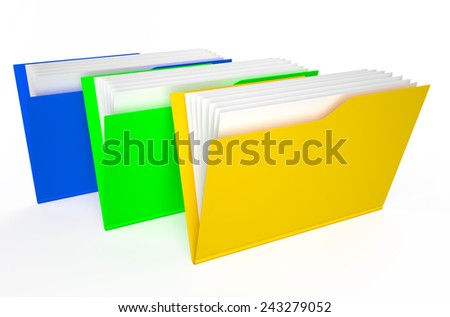 colored folders isolated on white background - stock photo