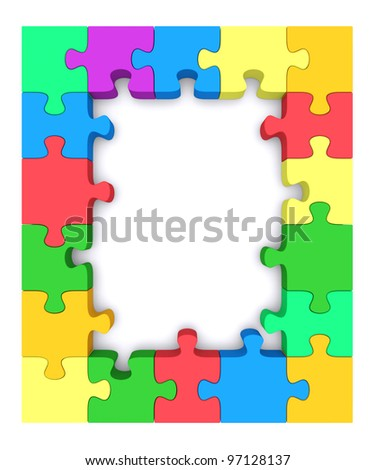 Colored  frame made up of pieces of colored jigsaw puzzle. 3d rendered image - stock photo