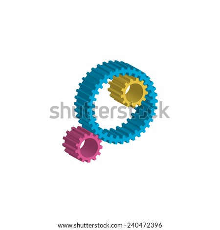 colored gears white background - stock photo
