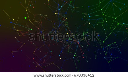 colored geometry abstract background with lines and dots