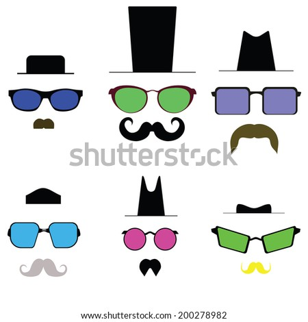 Colored glasses and a mustache and hat. Raster - stock photo