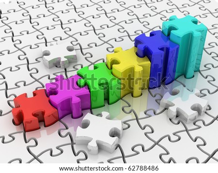 Colored graph from puzzle on white background. 3d - stock photo