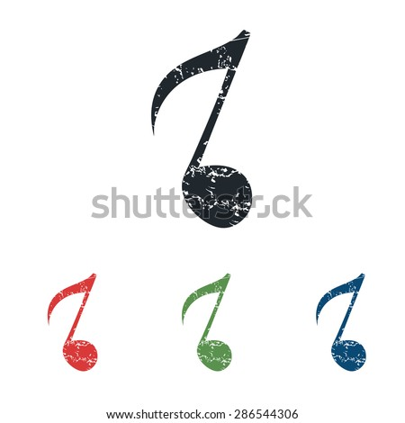 Colored grunge icon set with image of eighth note, isolated on white