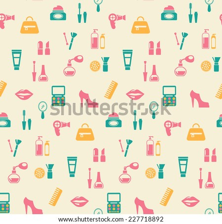 Colored hairstyling fashion and makeup seamless background pattern showing mascara  comb  hairdryer  perfume  nail varnish  containers  brushes  handbag  eye-shadow  lips  shoes  and blusher - stock photo