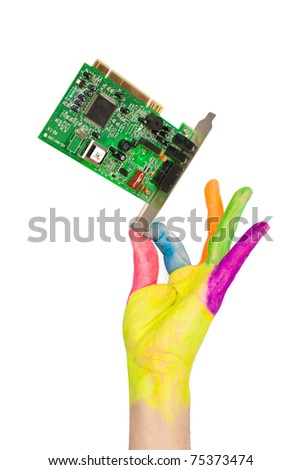 colored hand holding computer card. Isolated over white background with clipping path