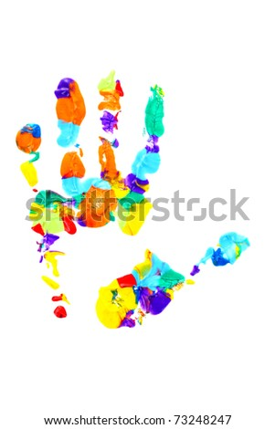 Colored hand print on white - stock photo