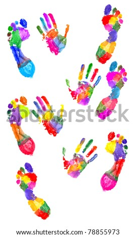 Colored handprint and colored footprint on white - stock photo