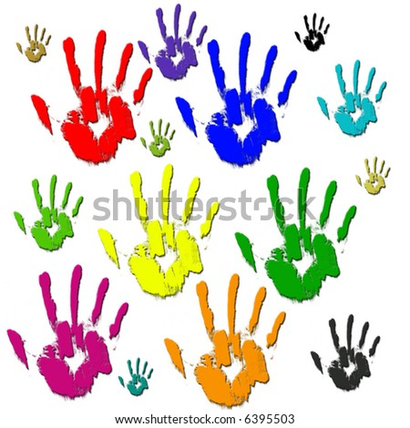 Colored hands in paint on white