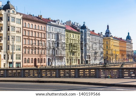 Colored Houses in Prague - stock photo