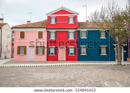 Colored houses on Burano Island