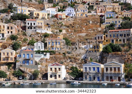 Colored houses on island Symi, Rhodes, Greece