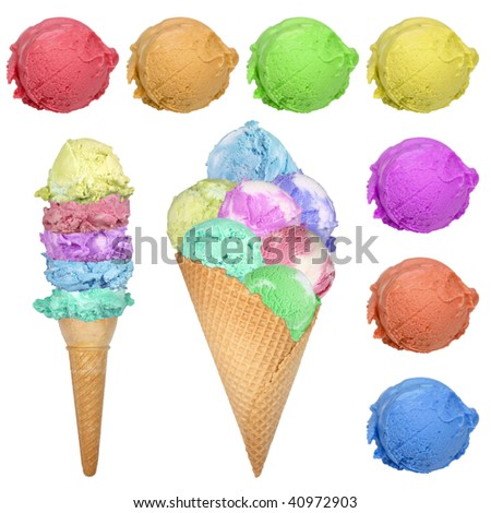 Colored ice creams with scoops isolated on white - stock photo