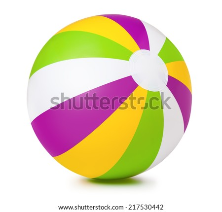 Colored inflatable beach ball on white background - stock photo