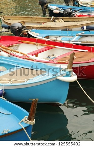Colored italian little fishing boats