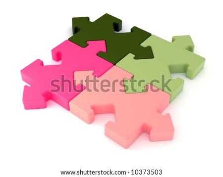 Colored jigsaw puzzle. Arrow joint. Rendered image. - stock photo